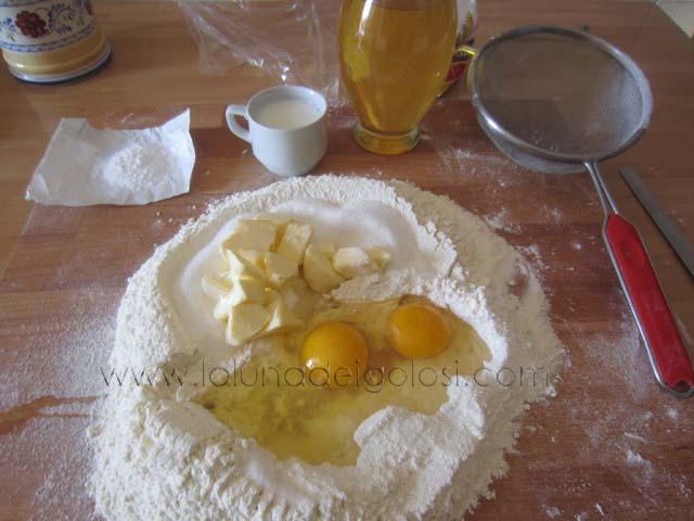 setaccia la farina sulla spianatoia aggiungi lo zucchero,le uova, il burro a pezzetti, un pizzico di sale