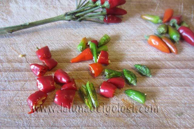 Come conservare i peperoncini piccanti: lava e asciuga bene i peperoncini poi tagliali a pezzetti
