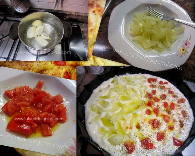 sbollenta la cipolla , taglia i pomodori e condisci tutto con olio e sale, poi mettili sulla focaccia e aggiungi l'origano