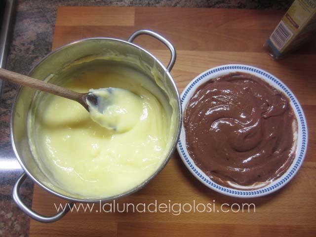 dividi la crema in due parti e in una stempera il cacao