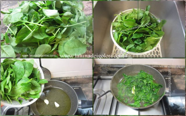 lava la verdura e tirala con uno spicchio d'aglio