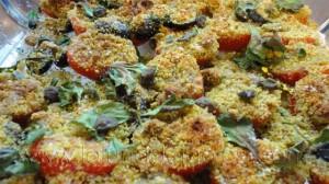 Tomatitos crujientes con polvo de nueces y aroma de naranja: buoniiiii!!