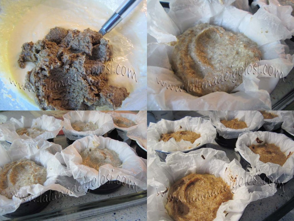 Mini-flan di funghi champignons e ricotta: aggiungi i funghi frullati e versa il tutto negli stampini